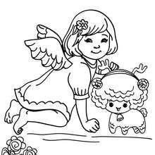 Petit ange au mouton à colorier - Coloriage - Coloriage FETES - Coloriage NOEL - Coloriage ANGE NOEL - Coloriages ANGE DE NOEL