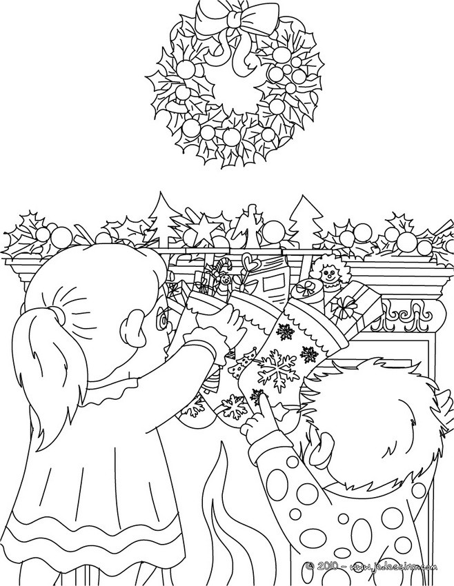coloriage chaussette nol cadeau - Coloriage Noel