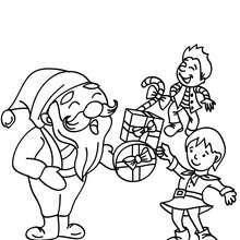 Papa Noël distribution à imprimer - Coloriage - Coloriage FETES - Coloriage NOEL - Coloriage PERE NOEL - Coloriages PERE NOEL
