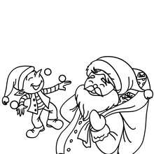 Coloriage mini lutin de Noël