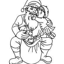 Papa Noël remerciement à imprimer - Coloriage - Coloriage FETES - Coloriage NOEL - Coloriage PERE NOEL - Coloriages PERE NOEL