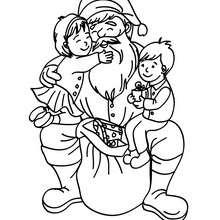 Papa Noël et les enfants à imprimer - Coloriage - Coloriage FETES - Coloriage NOEL - Coloriage PERE NOEL - Coloriages PERE NOEL