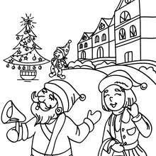 Papa Noël au village à imprimer - Coloriage - Coloriage FETES - Coloriage NOEL - Coloriage PERE NOEL - Coloriages PERE NOEL