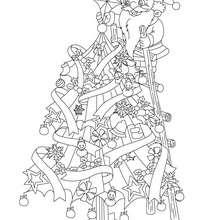 Papa Noël en haut du sapin à imprimer - Coloriage - Coloriage FETES - Coloriage NOEL - Coloriage PERE NOEL - Coloriages PERE NOEL