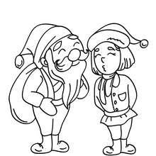 Père Noël et son lutin à imprimer - Coloriage - Coloriage FETES - Coloriage NOEL - Coloriage PERE NOEL - Coloriages PERE NOEL