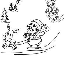 Père Noël mini traineau à imprimer - Coloriage - Coloriage FETES - Coloriage NOEL - Coloriage PERE NOEL - Coloriages PERE NOEL