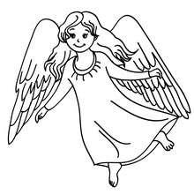 Ange aux grandes ailes à imprimer - Coloriage - Coloriage FETES - Coloriage NOEL - Coloriage ANGE NOEL - Coloriages ANGE DE NOEL