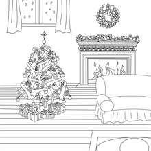 Sapin de Noël décoré devant cheminée à colorier - Coloriage - Coloriage FETES - Coloriage NOEL - Coloriage SAPIN DE NOEL - Coloriage SAPIN DE NOEL DECORE