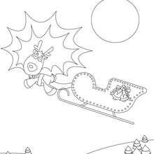 Coloriage Renne de Noël au traineau - Coloriage - Coloriage FETES - Coloriage NOEL - Coloriage RENNES DU PERE NOEL - Coloriages RENNES DU PERE NOEL