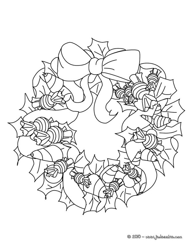 Coloriages coloriage jolie couronne no l - Couronne de noel a colorier ...