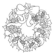 Coloriage jolie couronne Noël - Coloriage - Coloriage FETES - Coloriage NOEL - Coloriage COURONNE DE NOËL