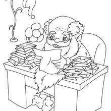 Coloriage Petit papa Noël et listes de cadeaux - Coloriage - Coloriage FETES - Coloriage NOEL - Coloriage PERE NOEL - Coloriages PERE NOEL
