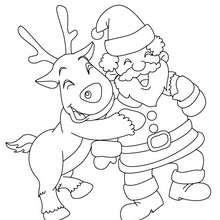 Coloriage Renne et papa Noël gratuit