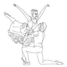 Coloriage : Danseur et danseuse gala à colorier
