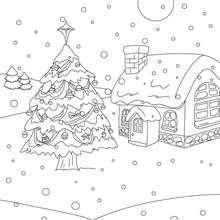 Sapin de Noël sous la neige à colorier - Coloriage - Coloriage FETES - Coloriage NOEL - Coloriage SAPIN DE NOEL - Coloriage SAPIN DE NOEL DECORE