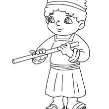 Joueur de flûte à colorier - Coloriage - Coloriage FETES - Coloriage NOEL - Coloriage PERSONNAGES RELIGIEUX