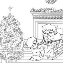Coloriage cadeau Noël grand mère - Coloriage - Coloriage FETES - Coloriage NOEL - Coloriage CADEAUX DE NOEL - Coloriages CADEAUX DE NOEL
