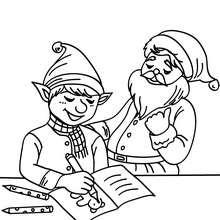 Petit lutin et la liste de Noël - Coloriage - Coloriage FETES - Coloriage NOEL - Coloriage LUTIN DE NOEL - Coloriages LUTIN DE NOEL