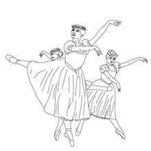 Coloriage : Danseuses tutu long à colorier