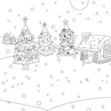 Sapins de Noël sous la neige à colorier - Coloriage - Coloriage FETES - Coloriage NOEL - Coloriage SAPIN DE NOEL - Coloriage SAPIN DE NOEL DECORE