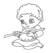 Petit Joueur de flute à colorier - Coloriage - Coloriage FETES - Coloriage NOEL - Coloriage PERSONNAGES RELIGIEUX