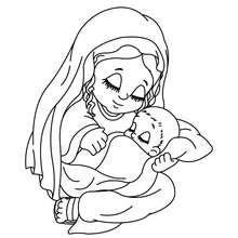 L'enfant Jésus et Marie à colorier - Coloriage - Coloriage FETES - Coloriage NOEL - Coloriage PERSONNAGES RELIGIEUX