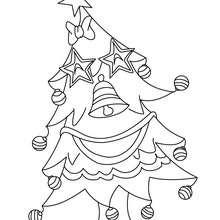 Sapin de Noël étoilé à colorier - Coloriage - Coloriage FETES - Coloriage NOEL - Coloriage SAPIN DE NOEL - Coloriage SAPIN DE NOEL DECORE