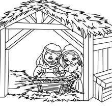 Grange et la sainte famille à colorier - Coloriage - Coloriage FETES - Coloriage NOEL - Coloriage PERSONNAGES RELIGIEUX