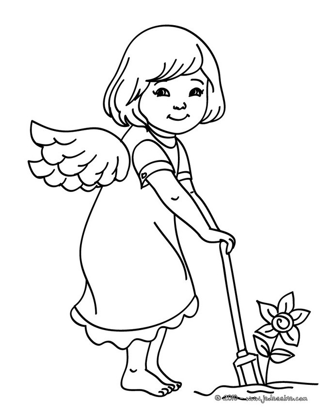 coloriages coloriage ange jardinier