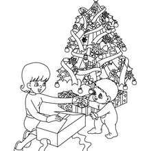 Coloriage découverte cadeaux Noël - Coloriage - Coloriage FETES - Coloriage NOEL - Coloriage CADEAUX DE NOEL - Coloriages CADEAUX DE NOEL