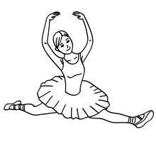 Saut de danseuse à colorier - Coloriage - Coloriage SPORT - Coloriage DANSE - Coloriage BALLET DE DANSE