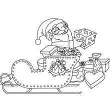 Coloriage Petit papa Noël sur traineau