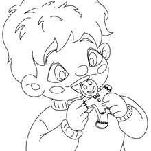 Monsieur Biscuit dégusté à colorier - Coloriage - Coloriage FETES - Coloriage NOEL - Coloriage NOEL GRATUIT