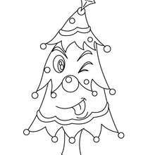 Sapin de Noël décoré rigolo à colorier - Coloriage - Coloriage FETES - Coloriage NOEL - Coloriage SAPIN DE NOEL - Coloriage SAPIN DE NOEL DECORE