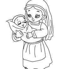 Marie à l'enfant à colorier - Coloriage - Coloriage FETES - Coloriage NOEL - Coloriage PERSONNAGES RELIGIEUX