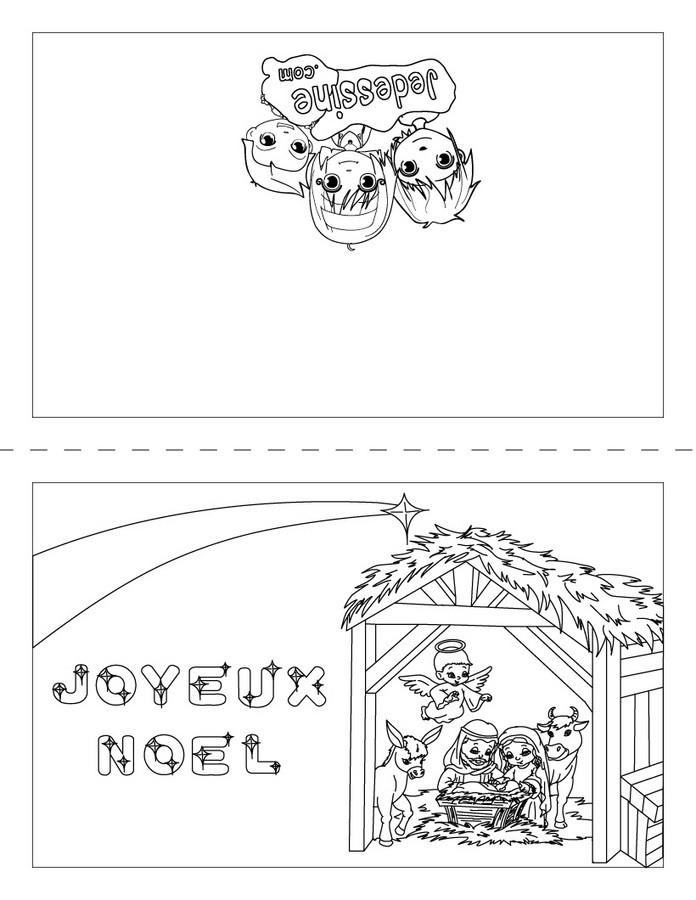 Carte à colorier : Joyeux Noël, la crèche