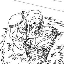 La sainte famille à colorier