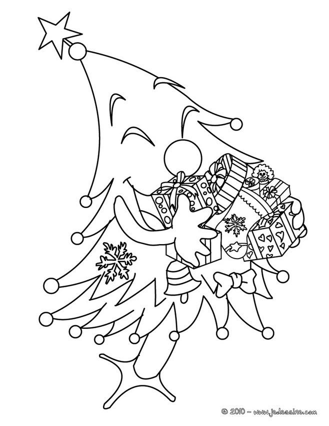 sapin de nol amusant dcor colorier - Coloriage Noel