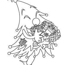 Coloriage : Sapin de Noël amusant décoré à colorier