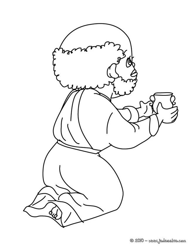 Coloriage : Roi mage au verre à colorier