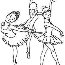 3 petites danseuses de ballet à colorier - Coloriage - Coloriage SPORT - Coloriage DANSE - Coloriage BALLET DE DANSE