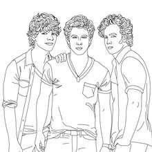 Coloriage 3 Jonas Brothers réunis