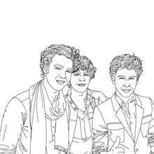 Coloriage 3 Jonas Brothers souriants