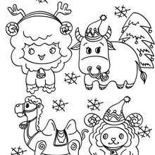 Les animaux de noël à colorier - Coloriage - Coloriage FETES - Coloriage NOEL - Coloriage ANIMAUX DE NOËL