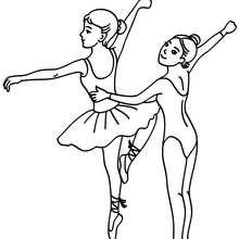 Coloriage 2 petites danseuses - Coloriage - Coloriage SPORT - Coloriage DANSE - Coloriage BALLET DE DANSE