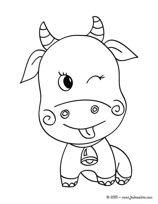 Coloriages petite vache kawa - Vache normande dessin ...