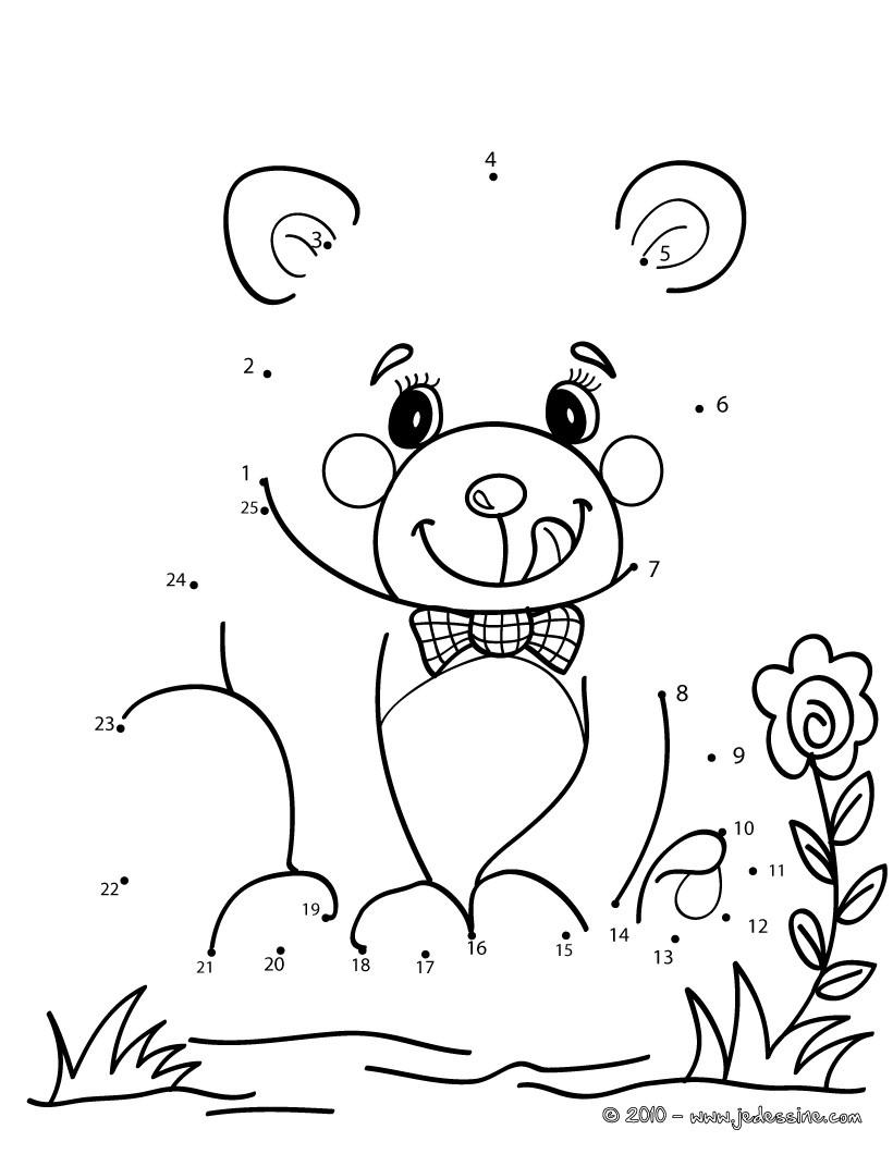petit ourson gourmand jeux jeux de points relier points relier animaux