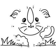 Chaton dans l'herbe - Jeux - Jeux de Points à relier - Points à relier Animaux faciles