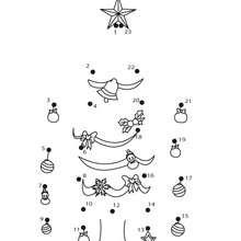 Jeu de points à relier : Le sapin de Noël décoré