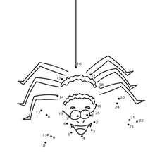 Jeu de points à relier : Araignée rigolote d'Halloween